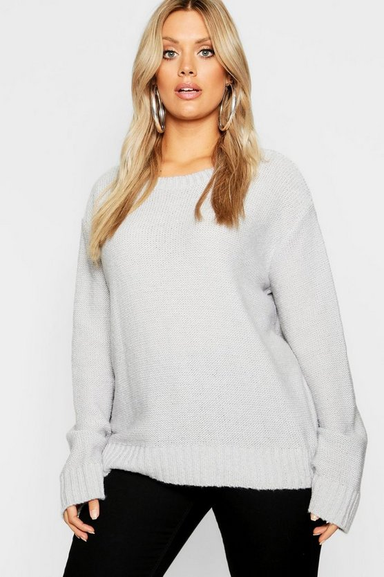 Plus Oversized Rib Cuff Soft Knit Sweater