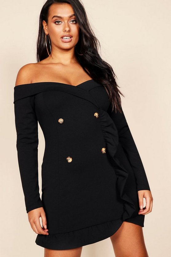 Womens Black Plus Bardot Tuxedo Button Mini Dress