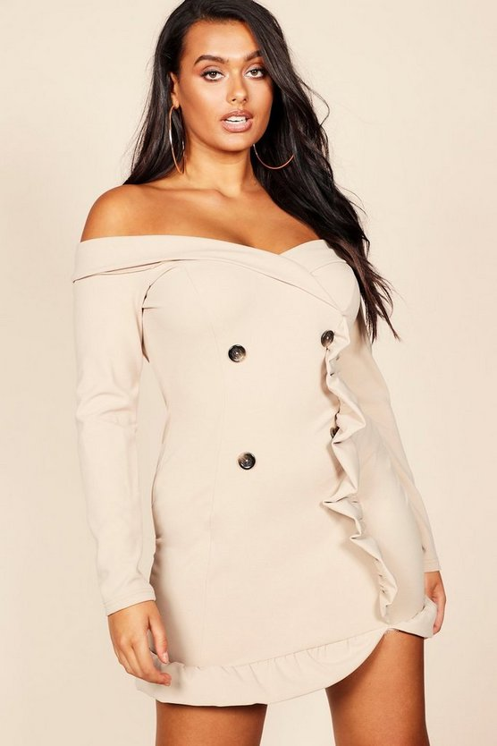 Plus Bardot Tuxedo Button Mini Dress