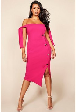 Womens Hot pink Plus Tie Sleeve Button Detail Midi Dress
