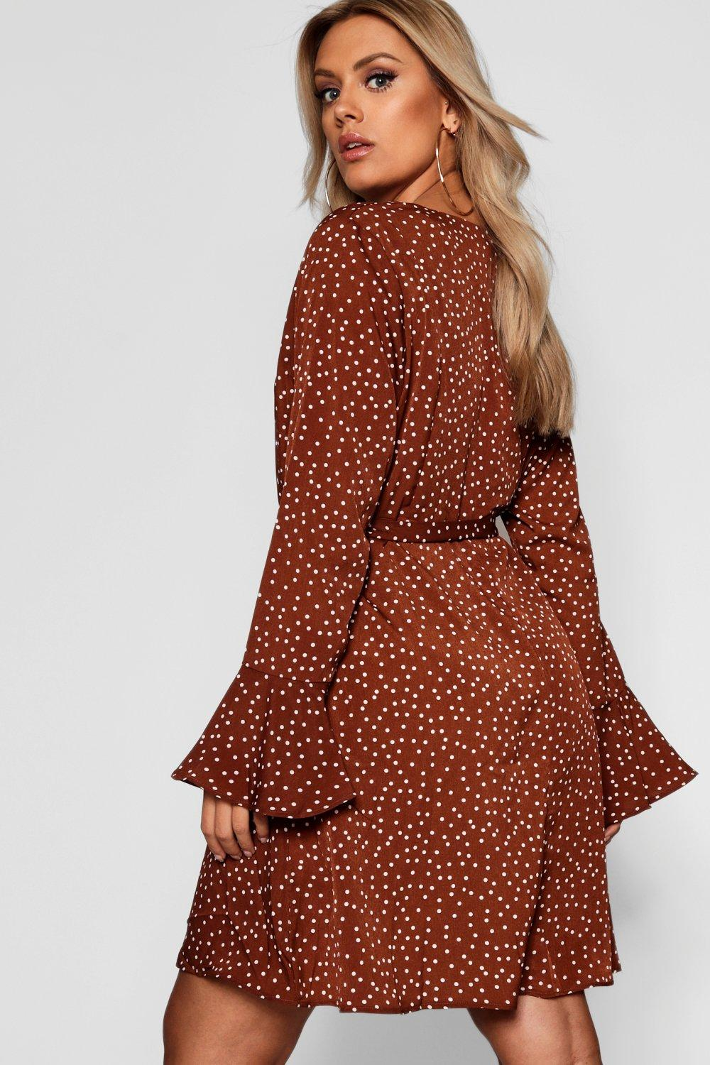 Plus Sleeve Dot Skater Flute Polka Plunge Dress UwqxwH6TR