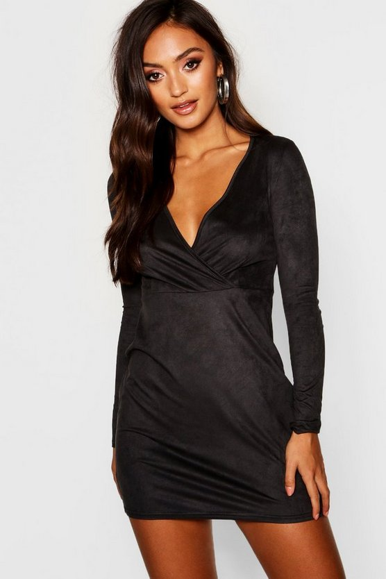 Petite Stretch Suedette Wrap Front Mini Dress