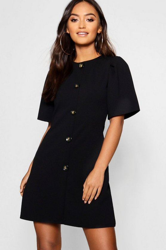 Womens Black Petite Horn Button Shift Dress