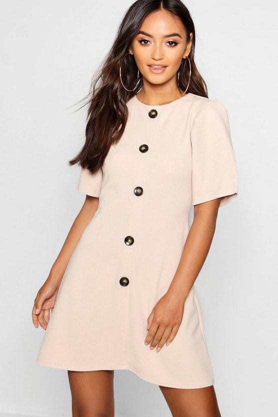 Petite Horn Button Shift Dress