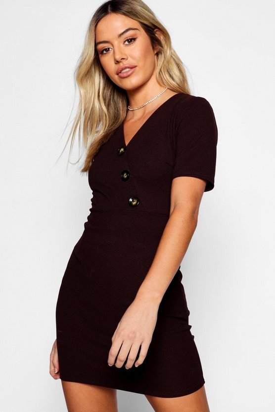 Petite Button Detail V-Neck Dress