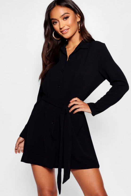Petite Belted Woven Shirt Dress