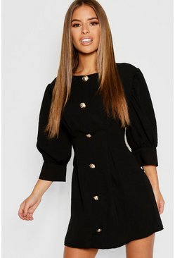 Womens Black Petite Button Detail Shift Dress