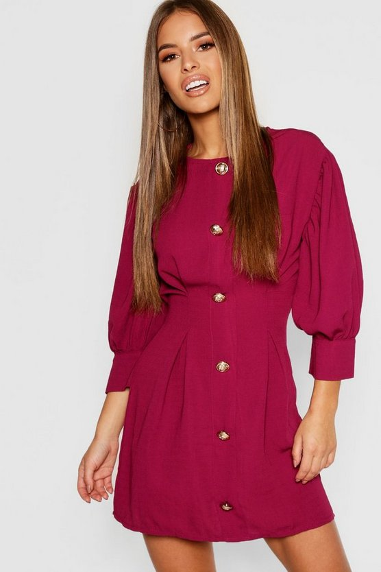 Petite Button Detail Shift Dress