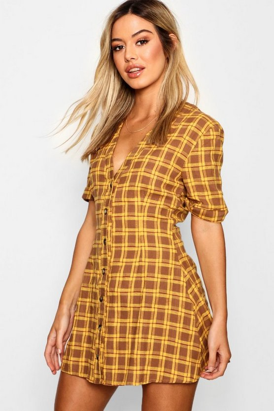 Mustard Petite Horn Button Shift Dress