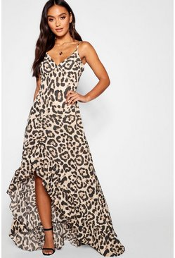 Womens Brown Petite Leopard Strappy Ruffle Dress