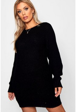 Womens Black Plus Soft Knit Jumper Dress