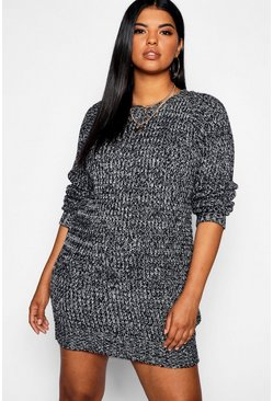 Womens Grey Plus Marl Jumper Dress