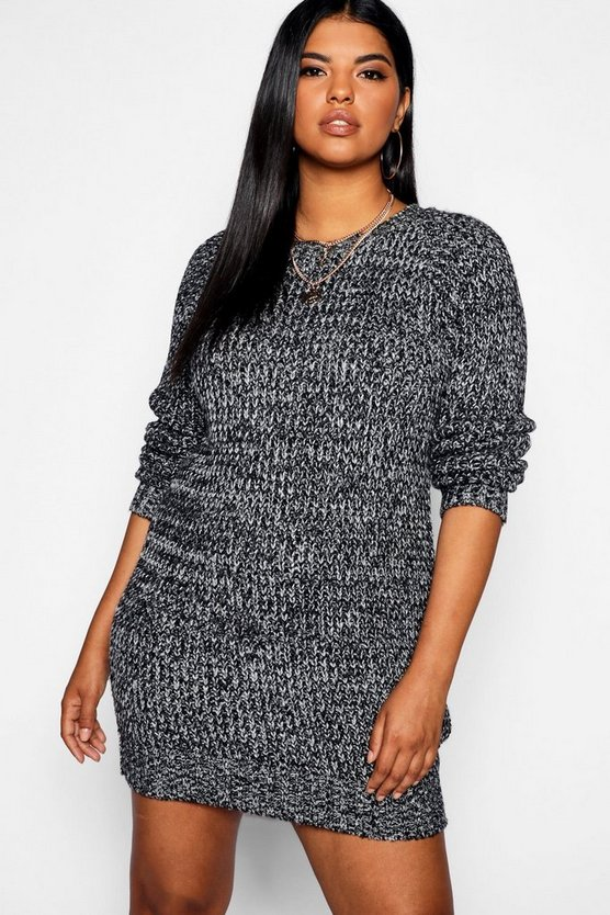 Plus Marl Jumper Dress, Donna
