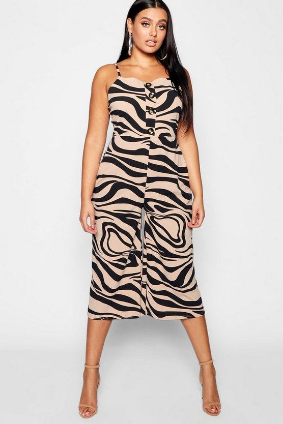 Plus Zebra Printed Horn Button Culotte Jumpsuit
