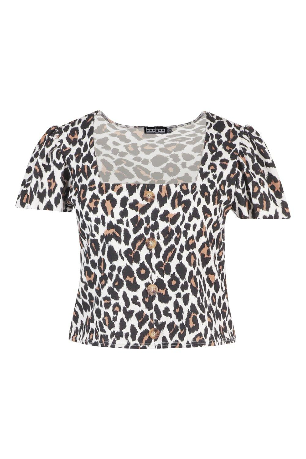 Plus Horn Button Leopard Ruffle Detail Top n11Z8Ywqp
