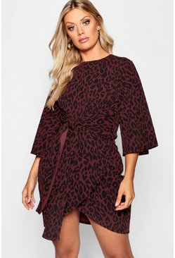 Womens Brown Plus Leopard Kimono Tie Waist Wrap Dress