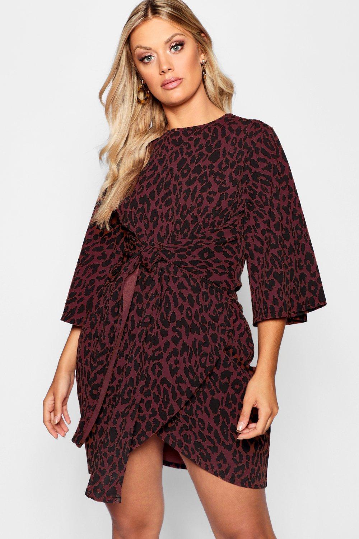 Plus Leopard Kimono Tie Waist Wrap Dress 8