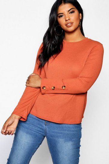 Womens Rust Plus Button Cuff Rib Knitted Jumper