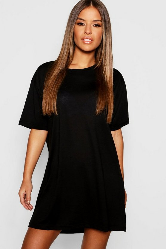 Womens Black Petite Basic Jersey T-Shirt Nightie