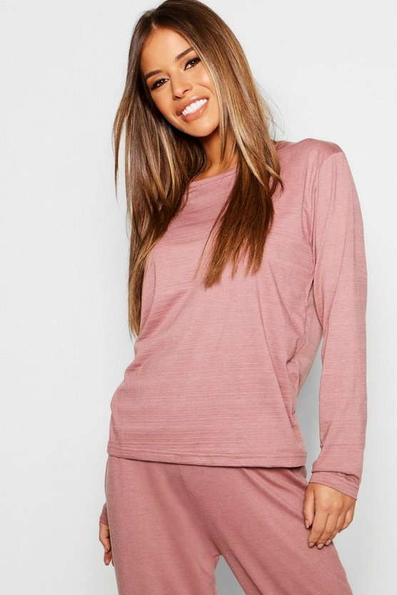 Petite Basic Jersey Long Sleeve PJ Top