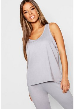 Womens Grey marl Petite Basic Jersey Scoop Neck PJ Vest Top