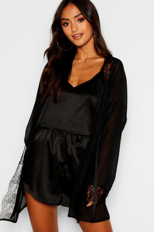Petite Lace Trim Chiffon Robe