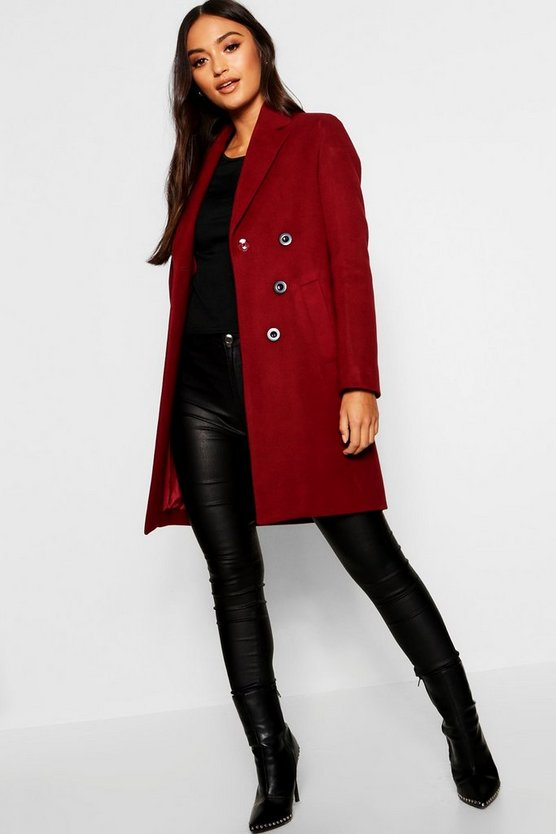 Long manteau à double patte de boutonnage Petite, Fruits rouges, Femme