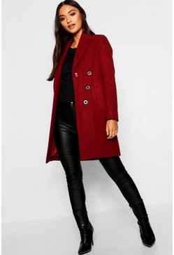 Womens Berry Petite Double Breasted Duster Coat