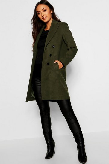 Khaki Petite Double Breasted Duster Coat