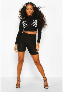 Petite Halloween Skeleton Hands High Neck Co-ord, Black, FEMMES