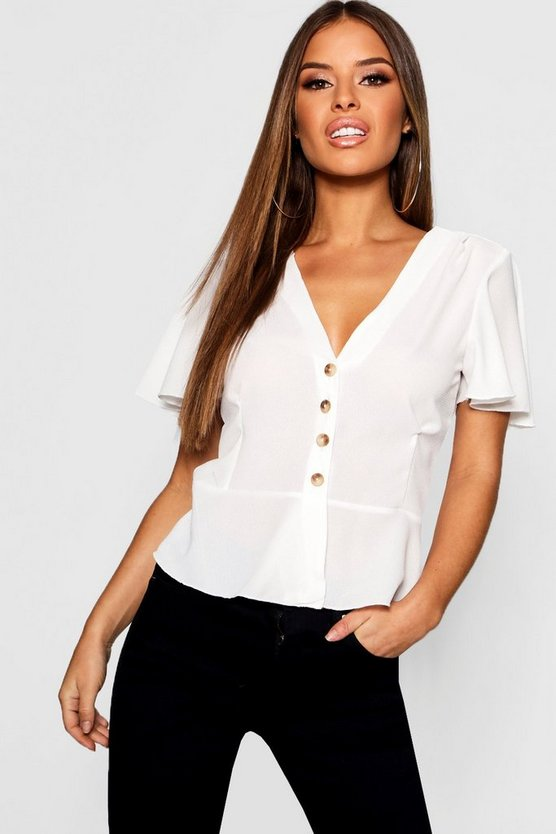 Petite Button Front Peplum Hem Top