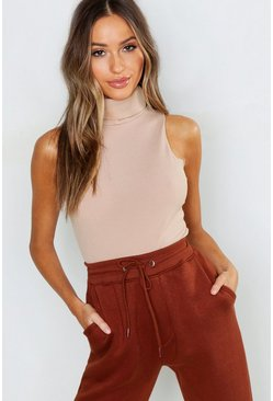 Womens Stone Petite Turtle Neck Rib Top