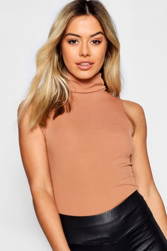 Petite Turtle Neck Rib Top