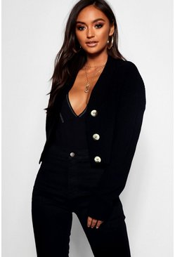 Womens Black Petite V Neck Plunge Button Up Crop Cardigan
