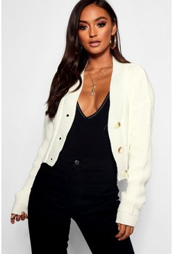 Womens Cream Petite V Neck Plunge Button Up Crop Cardigan