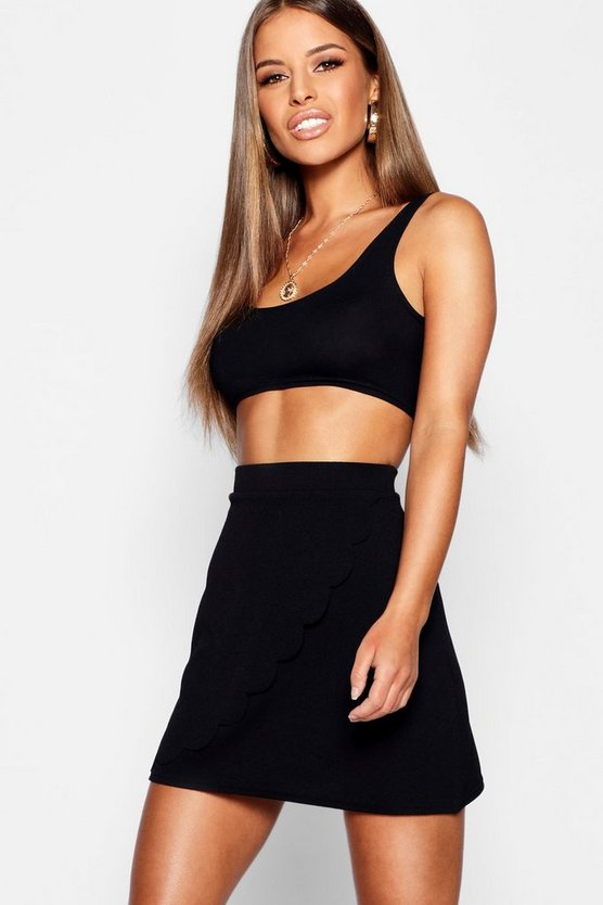 Womens Black Petite Scallop Wrap Skirt