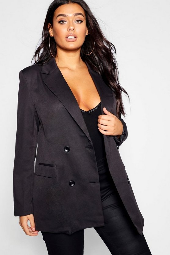 Womens Black Plus Double Breasted Contrast Button Blazer