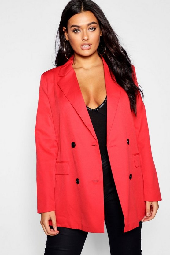 Plus Double Breasted Contrast Button Blazer