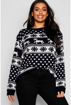 Womens Navy Plus Snowflake Christmas Jumper