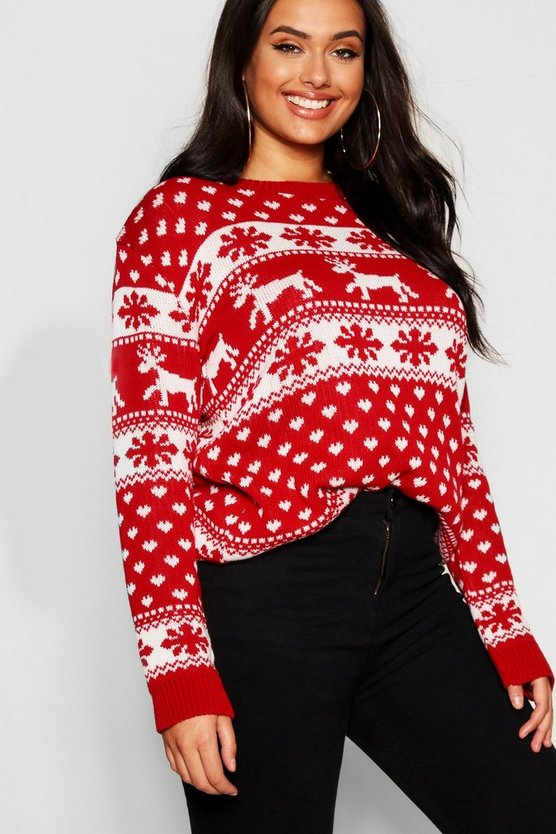 Plus Snowflake Christmas Jumper