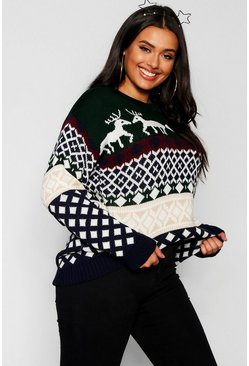 Womens Green Plus Reindeer Fairisle Christmas Jumper