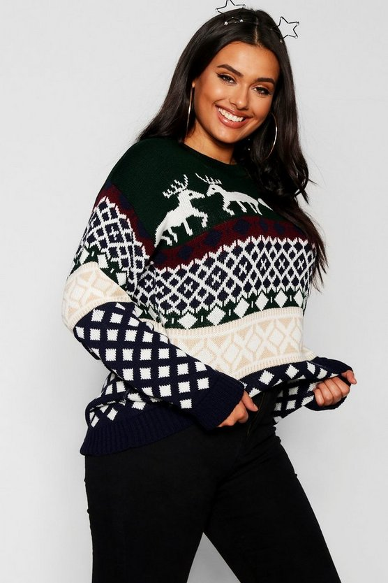 Plus Reindeer Fairisle Christmas Jumper