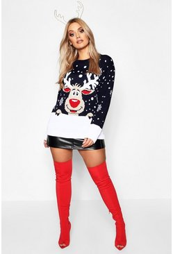 Navy Plus Reindeer Snowflake Christmas Sweater