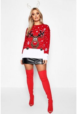 Womens Red Plus Reindeer Snowflake Christmas Jumper
