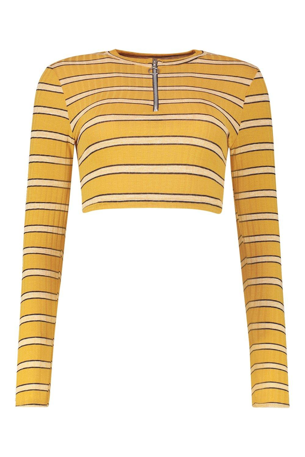 Rib Petite Crop Ring Top O mustard Stripe 54Fw4qrng6