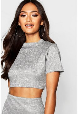 Womens Silver Petite Sparkle High Neck Crop Top