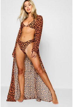 Womens Orange Petite Bright Animal Print Maxi Dress Beach Cover Up