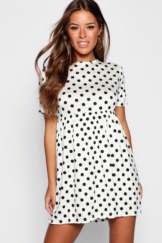 Petite Polka Dot Smock Dress
