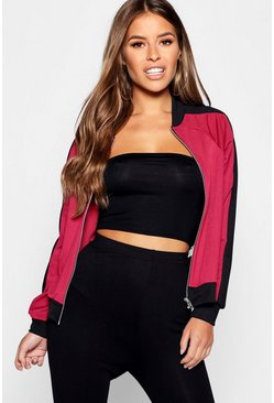 Womens Berry Petite Colour Block Bomber Jacket