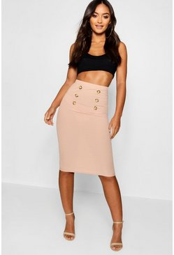 Womens Sand Petite Button Front Ribbed Midi Skirt
